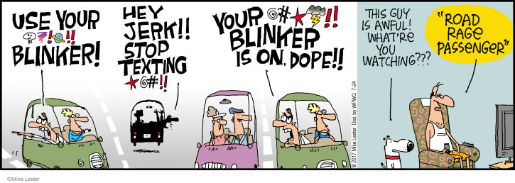 "Use your blinker! Hey jerk!! Stop texting!! Your blinker is on dope!! This guy is awful! Whatre you watching??? ""Road Rage Passenger."""