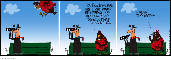 Yo, Poindexter the first robin of spring is in the house and needs a drink and a light … Alert the media.