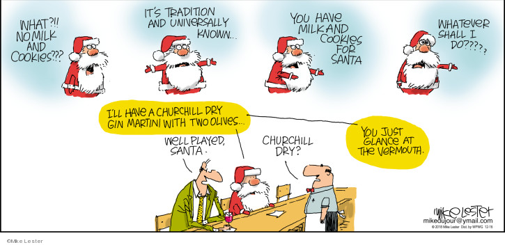 Cartoonist Mike Lester  Mike du Jour 2018-12-16 holiday tradition