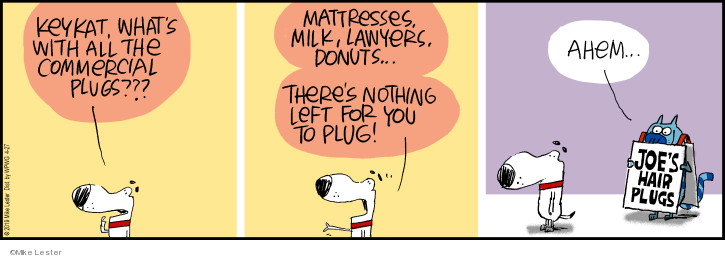 Keykat, whats with all the commercial plugs??? Mattresses, milk, lawyers, donuts … Theres nothing left for you to plug! Ahem … Joes Hair Plugs.