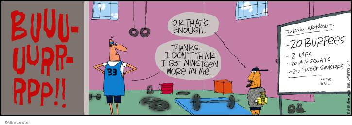 Comic Strip Mike Lester  Mike du Jour 2019-05-17 exercise