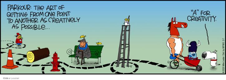 Cartoonist Mike Lester  Mike du Jour 2020-02-07 parkour