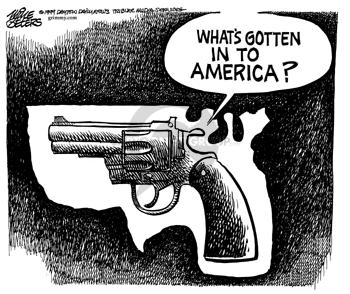 Cartoonist Mike Peters  Mike Peters' Editorial Cartoons 1999-04-09 gun rights
