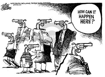 Cartoonist Mike Peters  Mike Peters' Editorial Cartoons 1999-04-11 gun rights