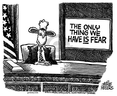 Cartoonist Mike Peters  Mike Peters' Editorial Cartoons 2003-02-27 fear
