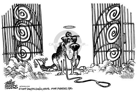 (No caption). Marge Schotts dog waits at the gates of Heaven.