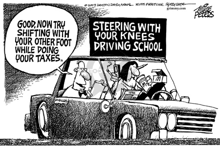 Steering with Your Knees Driving School.  Good, now try shifting with your other foot while doing your taxes.