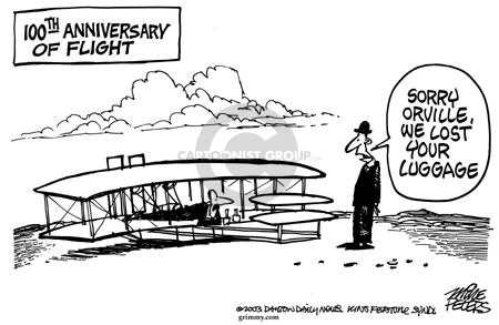 Cartoonist Mike Peters  Mike Peters' Editorial Cartoons 2003-07-10 airplane travel