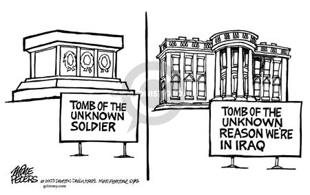 Cartoonist Mike Peters  Mike Peters' Editorial Cartoons 2003-07-15 Iraq war rationale