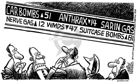 Car Bombs 51 Anthrax 14 Sarin Gas Nerve Gas 12 WMDs 47 Suitcase Bombs