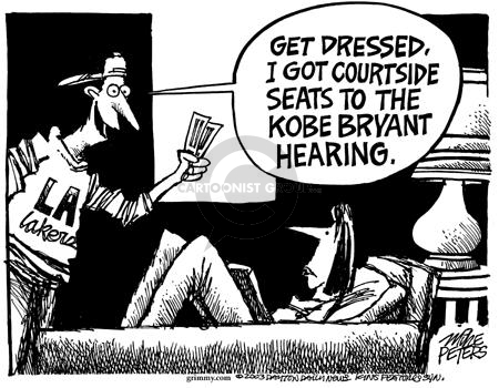 Cartoonist Mike Peters  Mike Peters' Editorial Cartoons 2003-08-08 Kobe Bryant