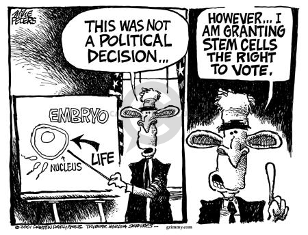 Cartoonist Mike Peters  Mike Peters' Editorial Cartoons 2001-08-17 pro-life