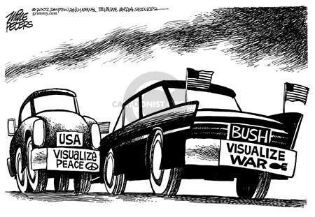 USA.  Visualize Peace.  Bush.  Visualize War.