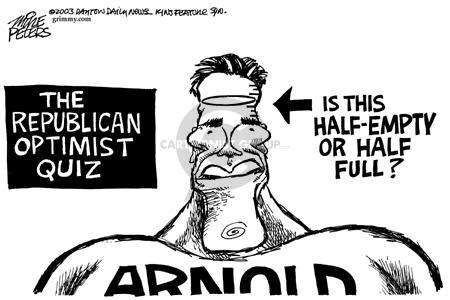 The Republican Optimist Quiz.  Is this half-empty or half-full?  Arnold.