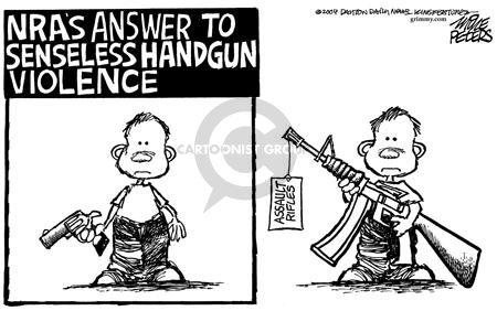 NRAs answer to senseless handgun violence.  Assault rifles.