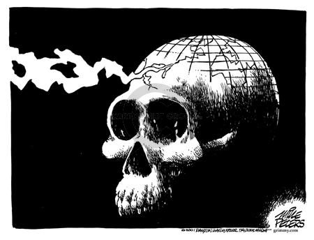 (No caption.)  Skull with the top of the globe positioned at the top of its head.  Trail of smoke emerges from the Northeast section of the United States following the attacks of September 11, 2001.
