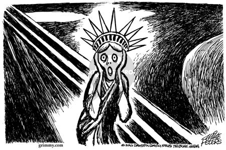 Cartoonist Mike Peters  Mike Peters' Editorial Cartoons 2001-09-14 fear