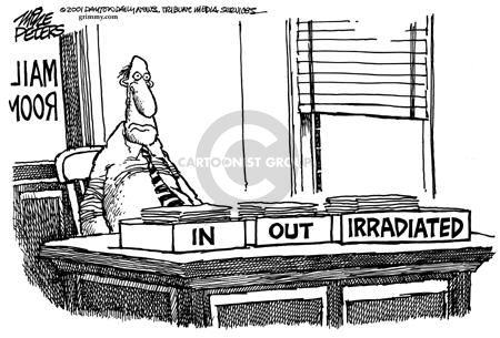 In.  Out.  Irradiated.  Mail Room.
