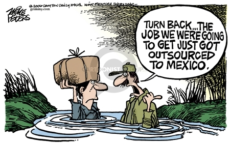 Cartoonist Mike Peters  Mike Peters' Editorial Cartoons 2006-04-14 immigrant