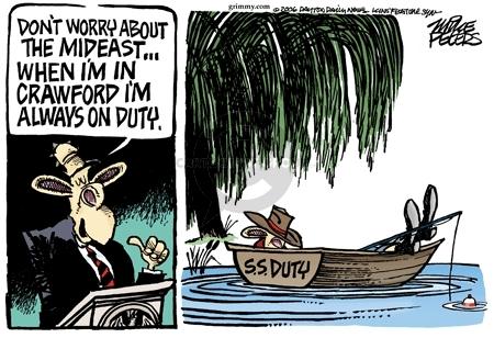 Cartoonist Mike Peters  Mike Peters' Editorial Cartoons 2006-08-10 Crawford, Texas