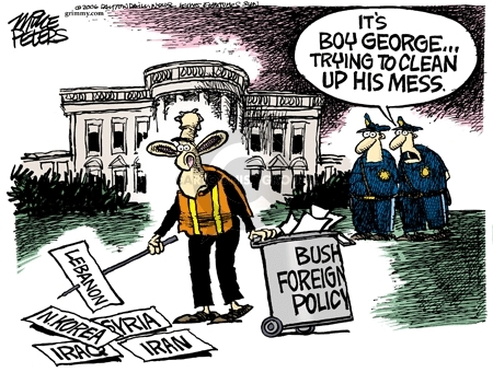 Lebanon.  N. Korea.  Syria.  Iraq.  Iran.  Bush foreign policy.  Its Boy George … trying to clean up his mess.