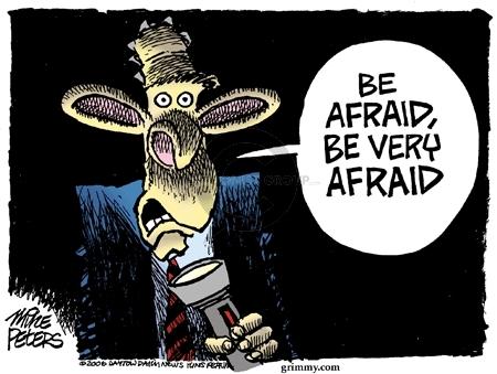 Cartoonist Mike Peters  Mike Peters' Editorial Cartoons 2006-09-09 afraid