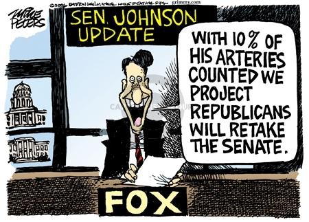 Senator Johnson Update.  With 10% of his arteries counted we project Republicans will retake the senate.  Fox.