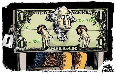 No caption.  (President George Washington is in locked in stocks painted as 1 dollar bill.