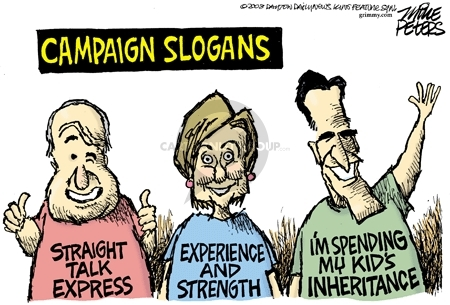 Cartoonist Mike Peters  Mike Peters' Editorial Cartoons 2008-01-31 slogan