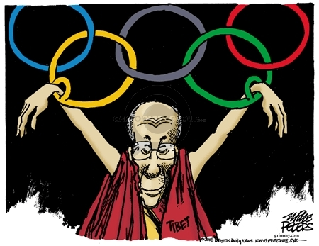 No caption.  (The Dalai Lama, representing Tibet, is beneath the Olympic rings.  His arms are shackled to the bottom two rings.)