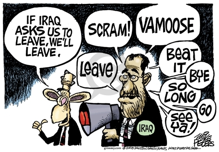 Mike Peters  Mike Peters' Editorial Cartoons 2008-07-09 Iraq exit strategy