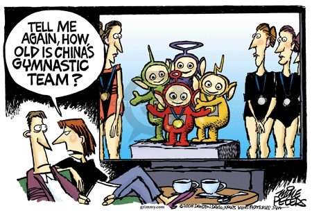 Cartoonist Mike Peters  Mike Peters' Editorial Cartoons 2008-08-14 China Olympics