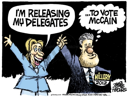 Im releasing my delegates.  Hillary 2012.  To vote McCain.