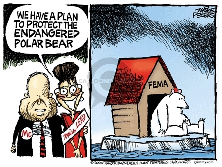 We have a plan to protect the endangered polar bear. Mc. Miss LEAD. FEMA.