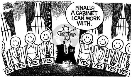 Cartoonist Mike Peters  Mike Peters' Editorial Cartoons 2004-11-16 presidential cabinet
