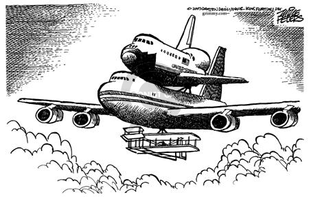 No caption.  (The Wright Brothers plane carries a 747 which carries a space shuttle.)