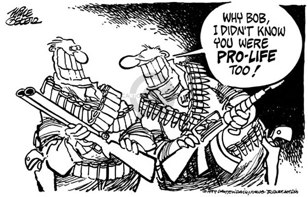 Cartoonist Mike Peters  Mike Peters' Editorial Cartoons 1994-03-22 gun rights