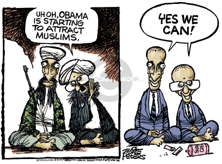 Uh oh, Obama is starting to attract Muslims. Yes we can. Shaving cream.