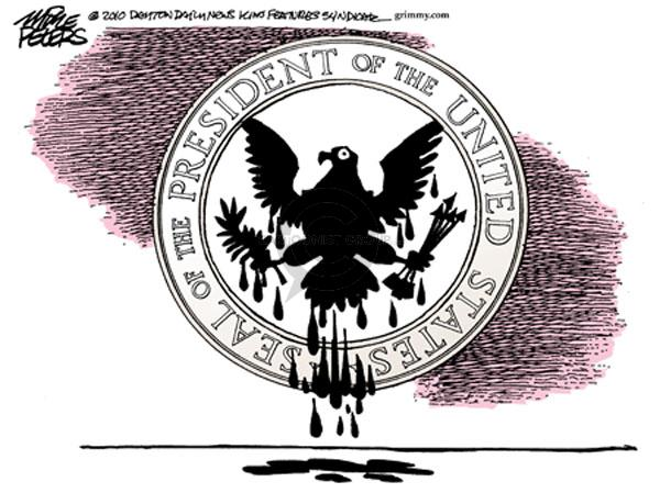 Seal of the President of the United States.  (Oil drips off of eagle.)