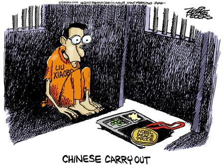 Cartoonist Mike Peters  Mike Peters' Editorial Cartoons 2010-10-08 China human rights