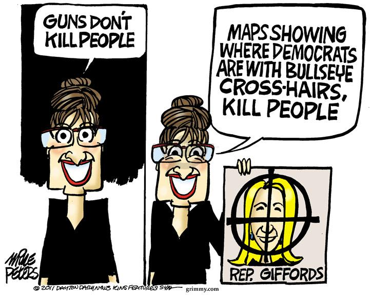Cartoonist Mike Peters  Mike Peters' Editorial Cartoons 2011-01-11 Sarah Palin