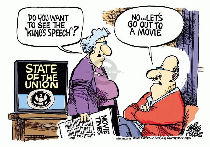 Cartoonist Mike Peters  Mike Peters' Editorial Cartoons 2011-01-25 union