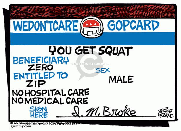 Cartoonist Mike Peters  Mike Peters' Editorial Cartoons 2011-04-27 health care