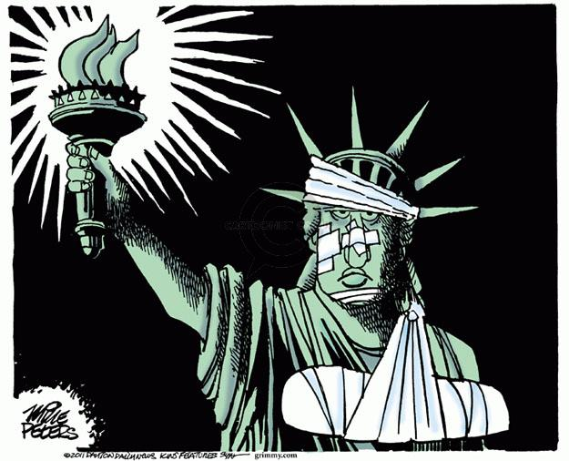No caption. (A bandaged Statue of Liberty with a broken arm shines her torch.)