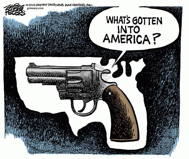 Cartoonist Mike Peters  Mike Peters' Editorial Cartoons 2012-03-23 gun violence