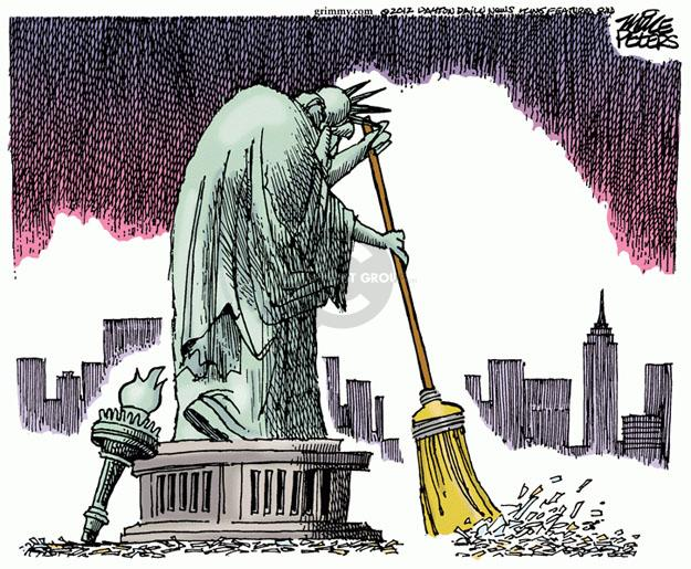 Cartoonist Mike Peters  Mike Peters' Editorial Cartoons 2012-10-30 Statue of Liberty