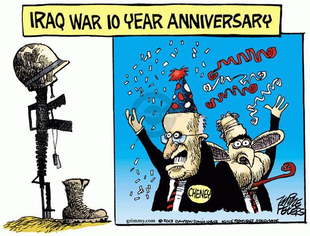 Cartoonist Mike Peters  Mike Peters' Editorial Cartoons 2013-03-21 Iraq war