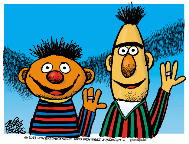 No caption. (Bert and Ernie from Sesame Street show off their wedding rings).
