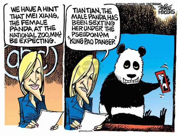 """We have a hint that Mei Xiang, the female panda at the National Zoo, may be expecting. Tian Tian, the male panda, has been sexting her under the pseudonym """"Kung Pao Danger."""""""