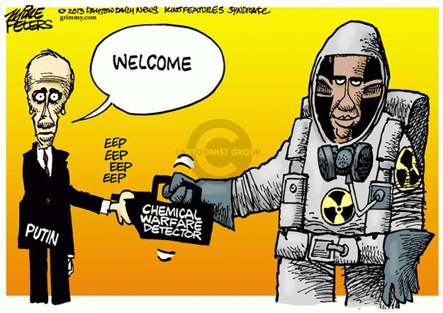 Cartoonist Mike Peters  Mike Peters' Editorial Cartoons 2013-09-05 Barack Obama Vladimir Putin Syria
